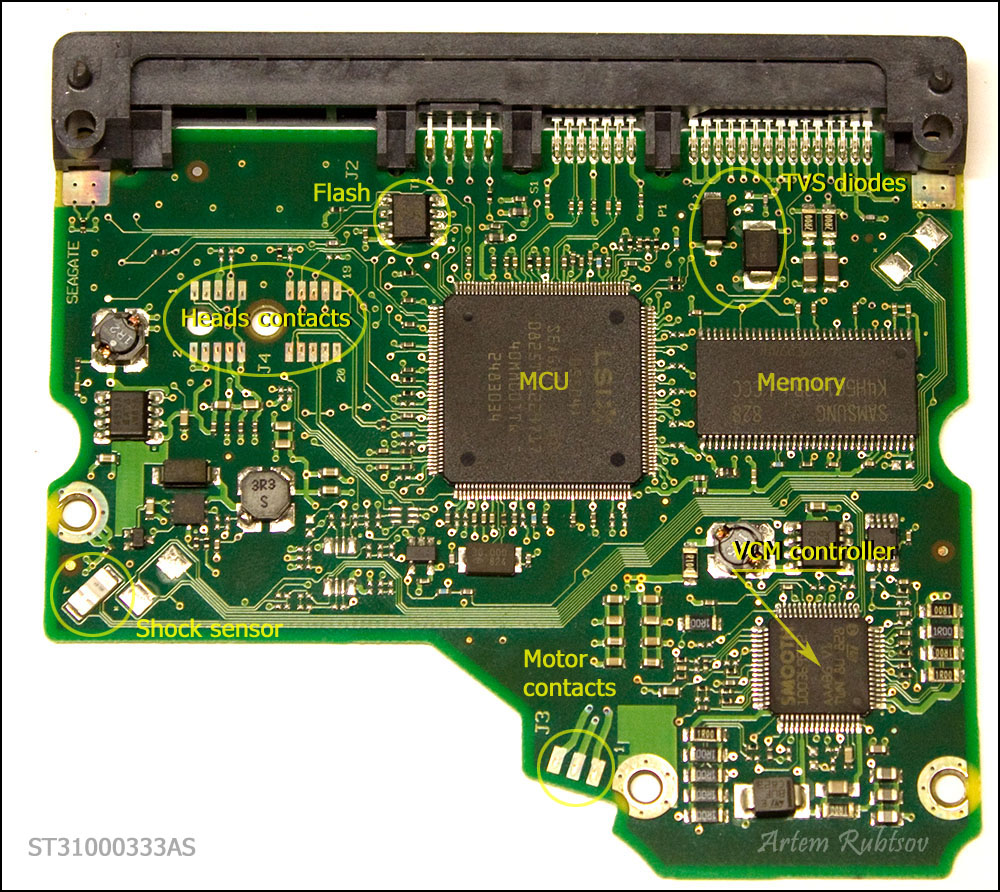 the heart of pcb is the biggest chip in the middle called micro controller  unit or mcu  on modern hdds mcu usually consists of central processor unit  or cpu